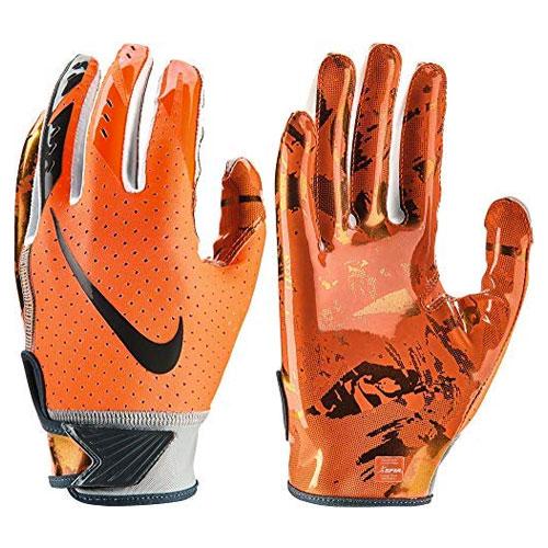 Youth Vapor Jet 5.0 Football Gloves, Neon Orange, swatch