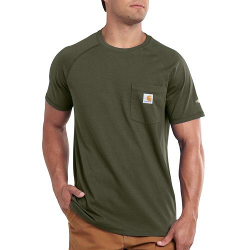 Men's Short Sleeve Force Cotton Delmont Tee, Moss, swatch