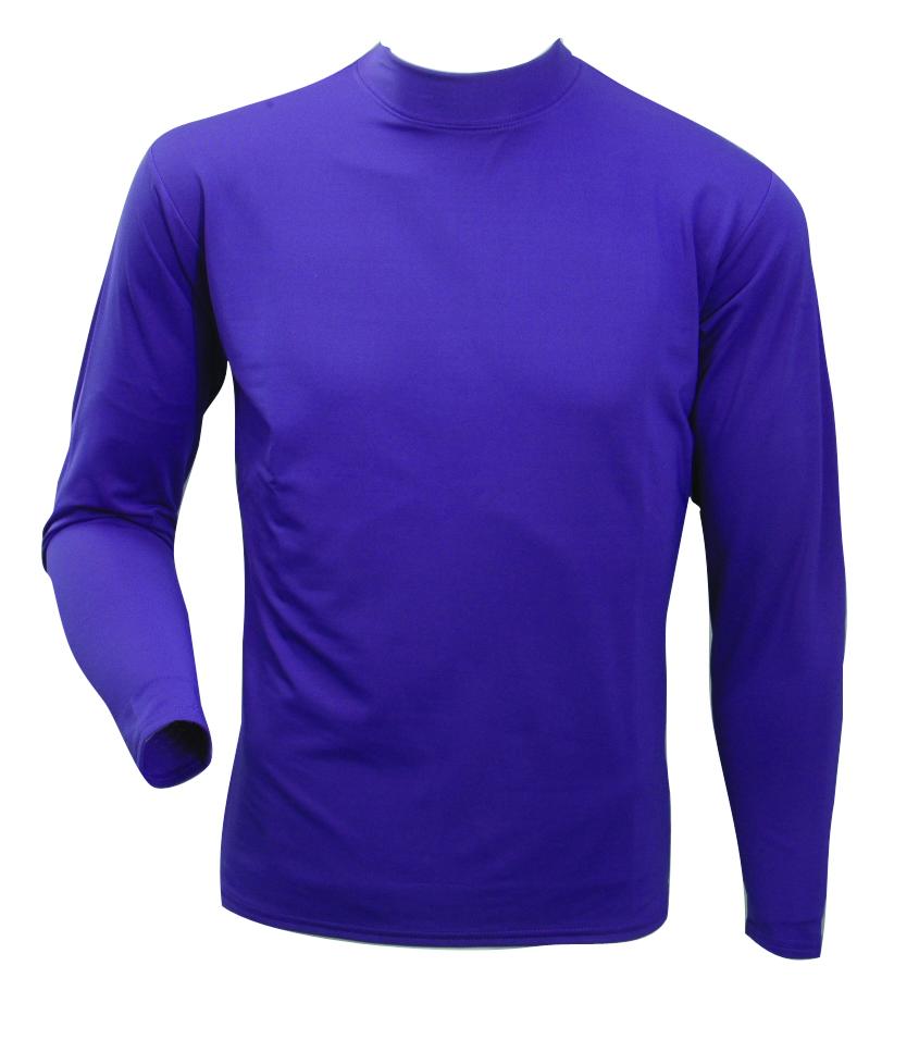 Men's Long Sleeve Cold Weather Mockneck Shirt, Purple, swatch