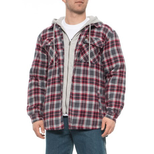 Fleece Lined Flannel Shirt Jacket, Red, swatch
