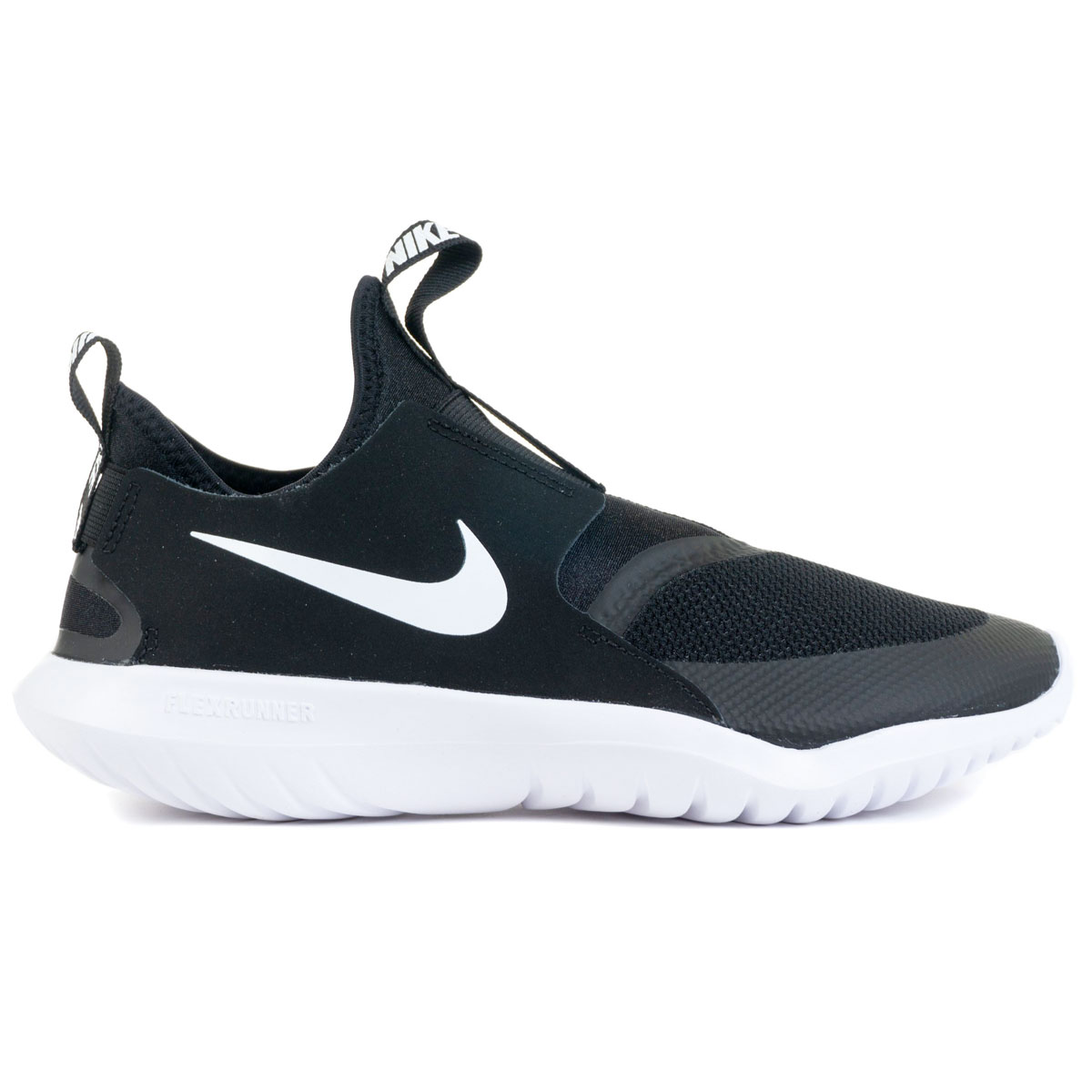 Boys' Flex Running Shoes, Black/White, swatch