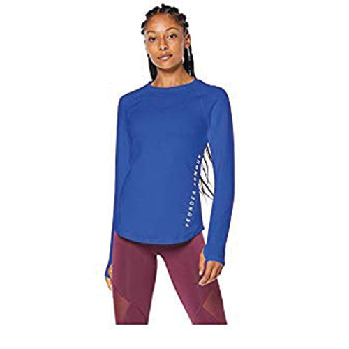 Women's ColdGear Armour Long-Sleeve Crewneck, Navy, swatch
