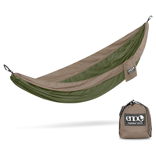 SingleNest Lightweight Camping Hammock, Green/Tan, swatch
