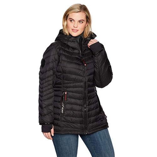 Women's Plus Sizes 2-Pocket Hooded Puffer Jacket, Black, swatch