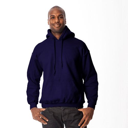 Men's Long Sleeve Fleece Pullover Hoodie, Navy, swatch