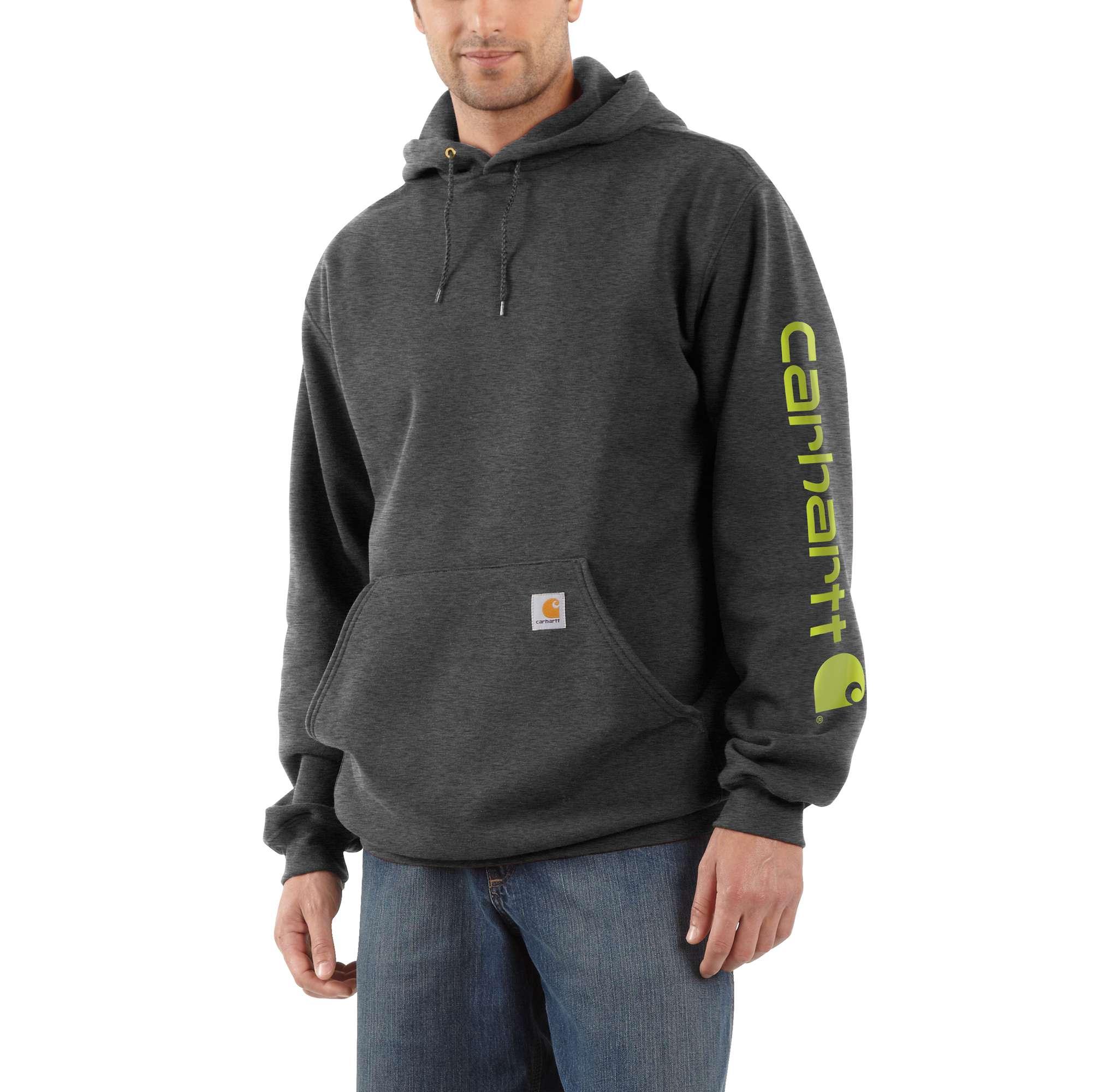 Men's Signature Sleeve Logo Hooded Sweatshirt, Heather Gray, swatch