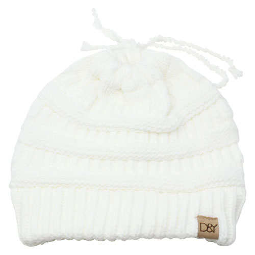 Women's Slinky Beanie With Faux Fur Pom, Cream,Natural,Eggshell, swatch