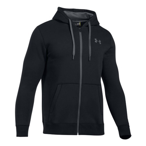 Men's Rival Fit Solid Full Zip Fleece, Black, swatch