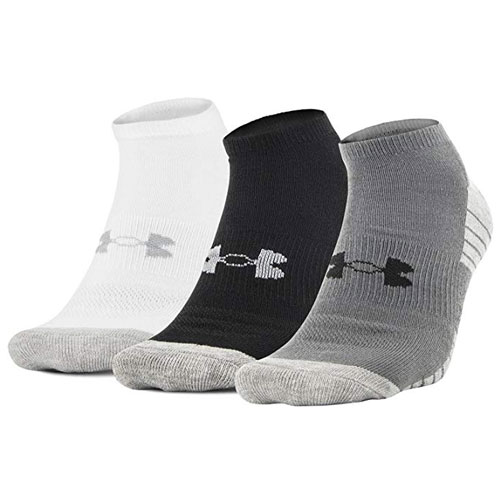 Men's Heatgear Tech No Show Socks, White/Black/Gray/Silver, swatch