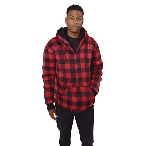 Men's Red/Black Plaid Sherpa Hoodie, , large