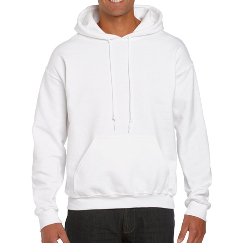Men's Extdended Sizes Long Sleeve Hoodie, White, swatch