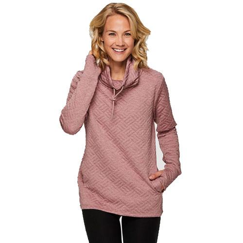 Women's Jacquard Long Sleeve Quilt Cowl Neck Sweatshirt, Pastel Pink,Theatrical, swatch