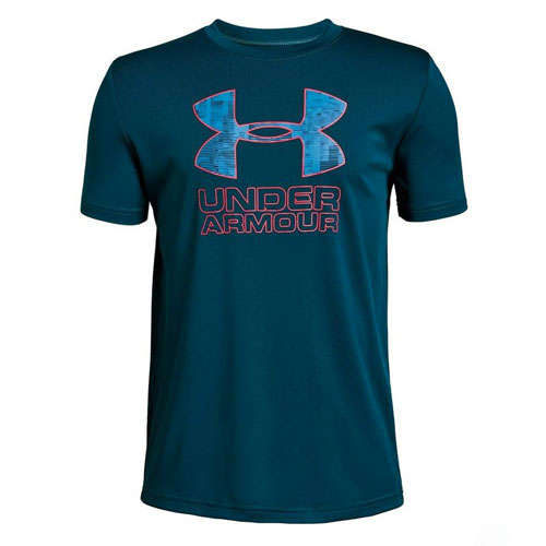 Boy's Under Armour Print Logo Tee, Navy, swatch