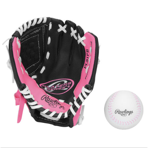 "Youth 9"" Players Series Glove with Baseball, Pink/Black, swatch"