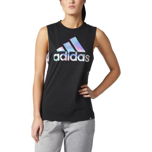 Women's Badge of Sport Iridescent Mesh Muscle Tank Top, Black, swatch