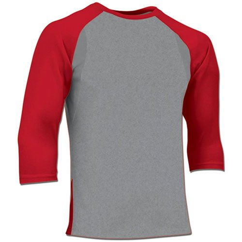 Youth Extra Innings 3/4 Sleeve Shirt, Gray/Red, swatch