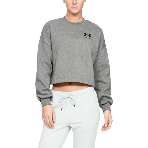 Women's Rival Graphic LC Fleece Crew Sweatshirt, Charcoal,Smoke,Steel, swatch