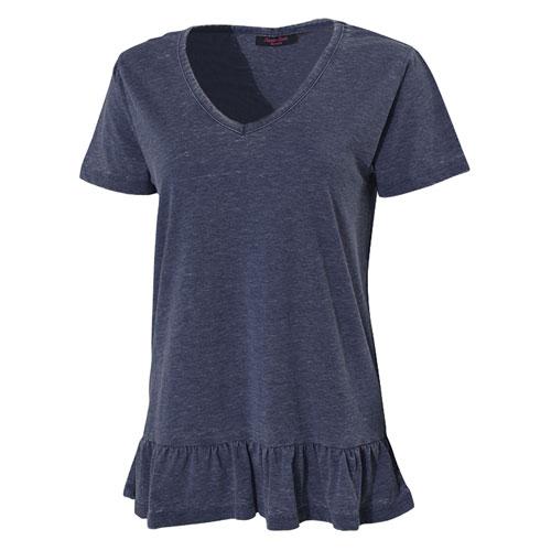 Women's Burnout Short Sleeve V-Neck Shirt, Navy, swatch
