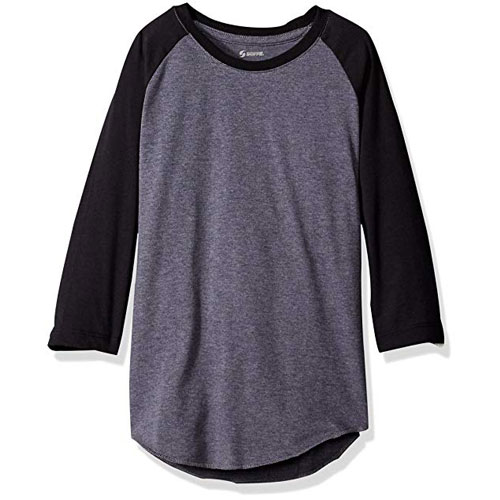 Adult Classic Heathered Baseball Tee, Gray/Black, swatch