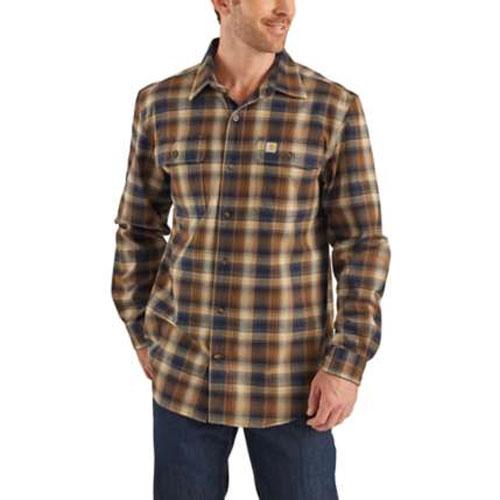 Men's Long Sleeve Hubbard Flannel Shirt, Navy, swatch