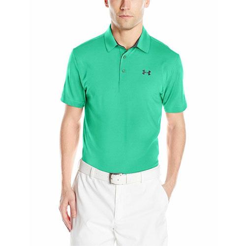 Men's Short Sleeve Striped Polo Golf Shirt, Gray/Green, swatch