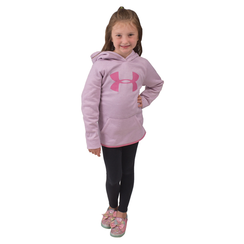 Girl's Armour Fleece Big Logo Twist Hoodie, Light Purple, swatch