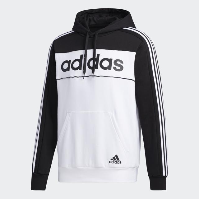 Men's Essentials Hooded Sweatshirt, Black/White, swatch