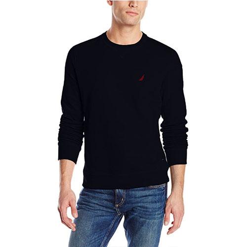 Men's Crew Neck Solid Fleece, Black, swatch