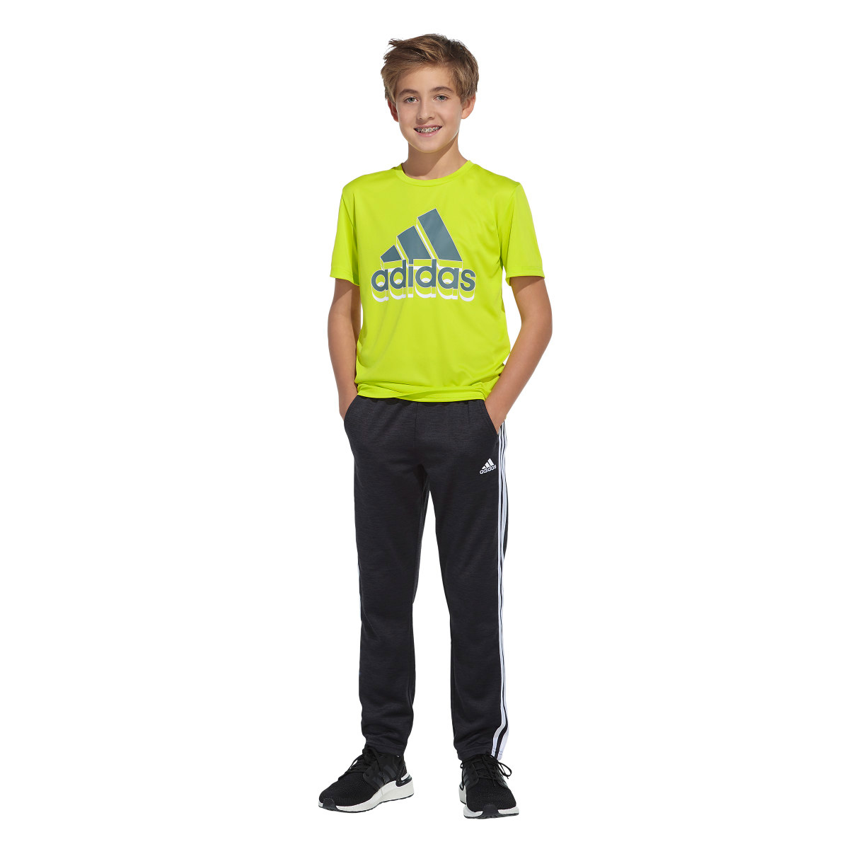 Boys' Short Sleeve AEROREADY Shadow Badge Of Sport Tee, Gold, Yellow, swatch