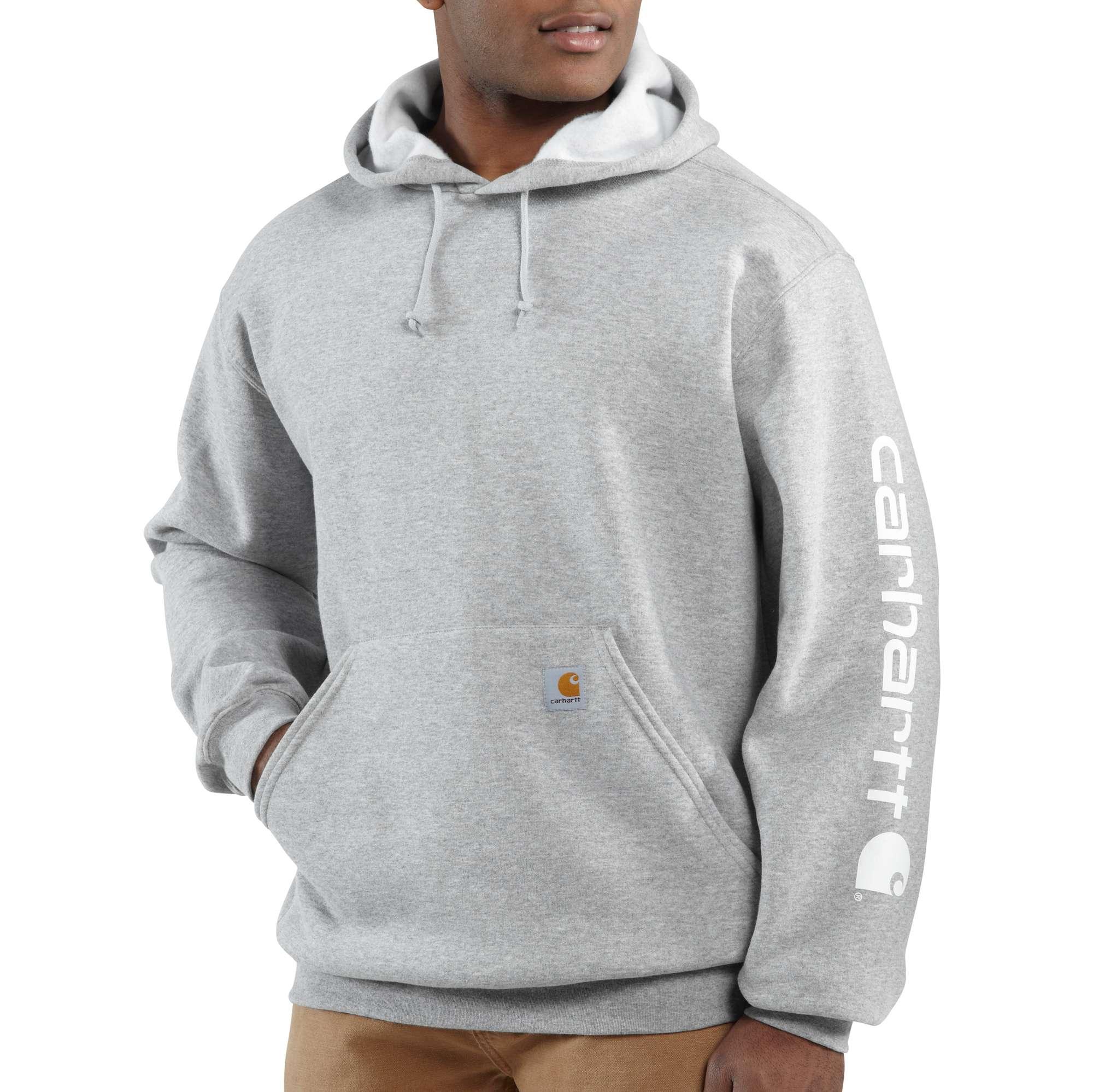 Men's Midweight Signature Logo Sleeve Hooded Sweatshirt, Heather Gray, swatch