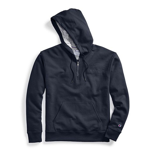 Men's Powerblend Embroidered Logo Fleece Quarter Zip Hoodie, Navy, swatch