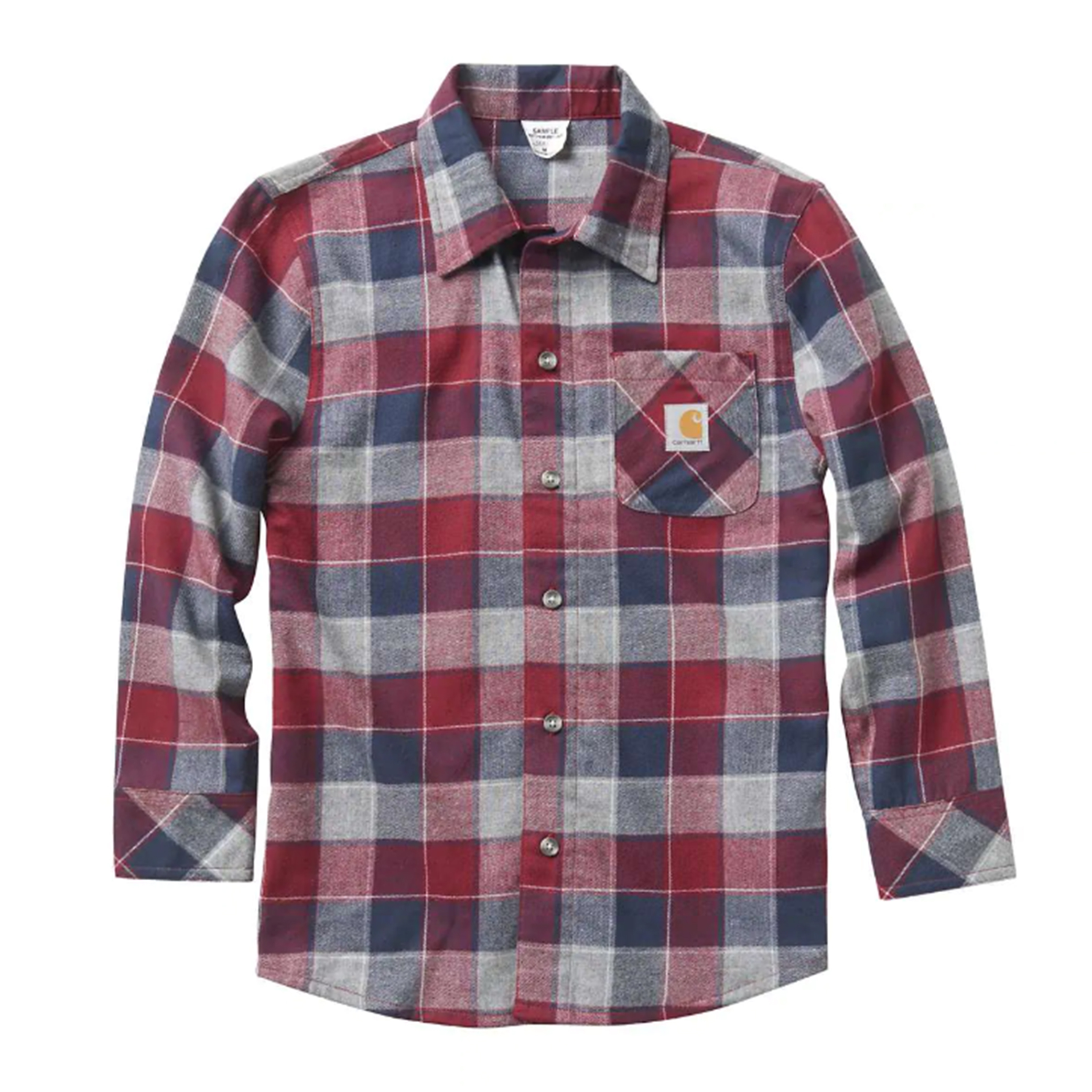 Boy's Long Sleeve Plaid Shirt, Red/Blue, swatch