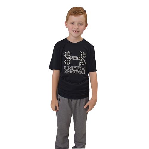 Boy's Under Armour Print Logo Tee, Charcoal,Smoke,Steel, swatch