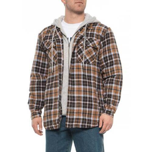 Fleece Lined Flannel Shirt Jacket, Brown, swatch