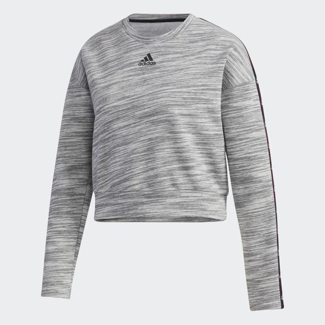 Women's Long Sleeve Tape Crewneck Sweater, Heather Gray, swatch