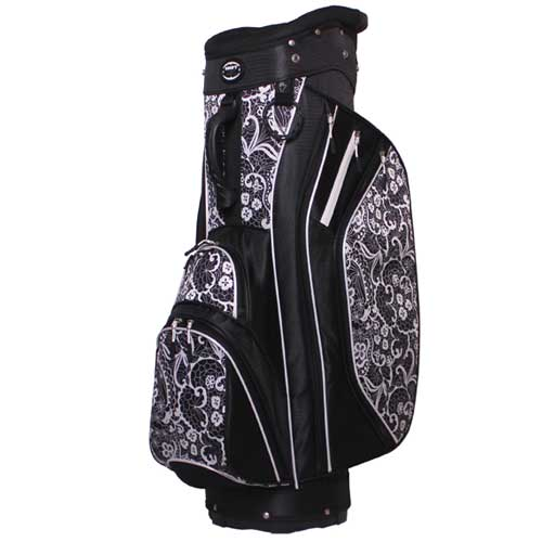 Women's Cart Golf Bag, Black/White, swatch