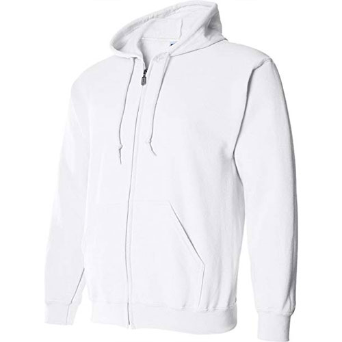 Women's Full Zip Hooded Sweatshirt, White, swatch