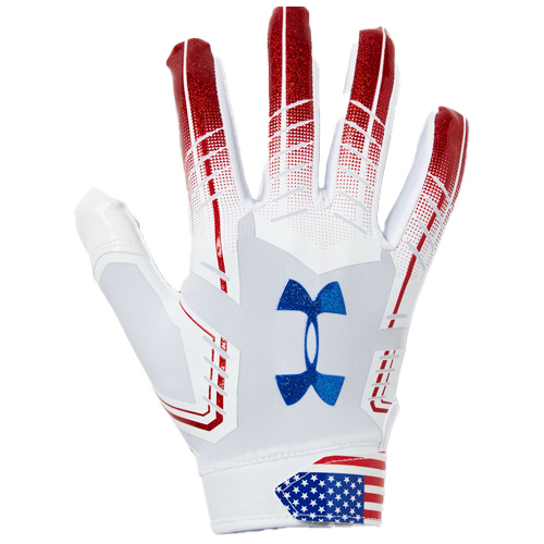 Men's F6 Novelty Football Gloves, Red, White And Blue, swatch