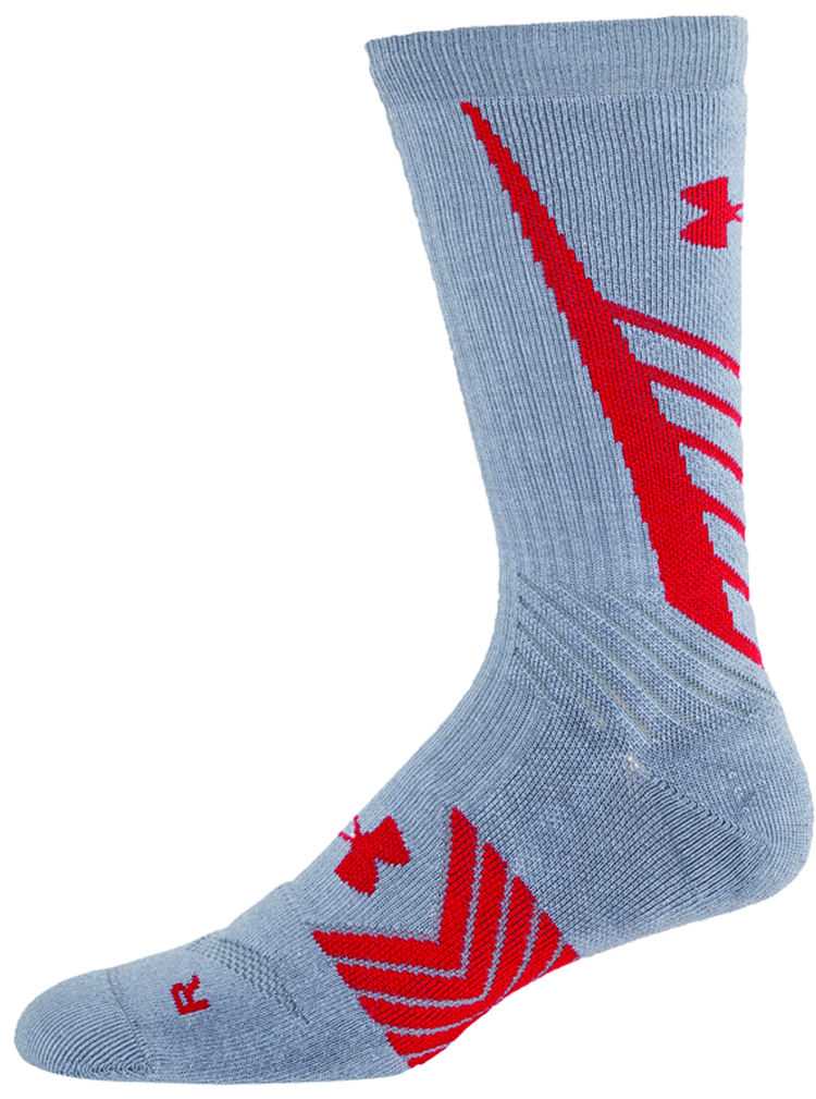 Men's Undeniable All Sport Crew Socks, Gray/Red, swatch