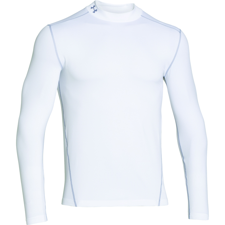 Men's ColdGear EVO Fitted Mock Long Sleeve Shirt, White, swatch