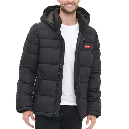 Men's Mid-Length Quilted Puffer Jacket, Black, swatch