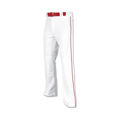 Men's Pro-Plus Open Bottom Baseball Pants, White/Red, swatch