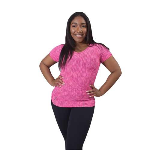 Missy Short Sleeve Straited V-Neck Tee, Pink, swatch