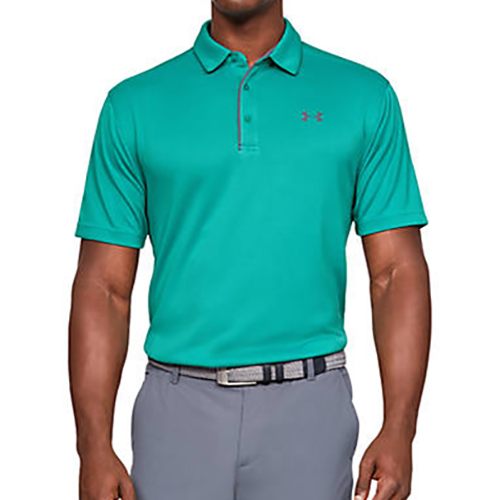 Men's Tech Polo Shirt, Green Blue, Teal, swatch