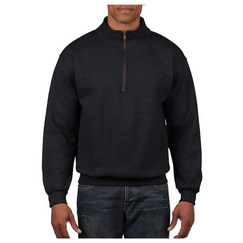 Men's Long Sleeve Quarter Zip Fleece, Black, swatch