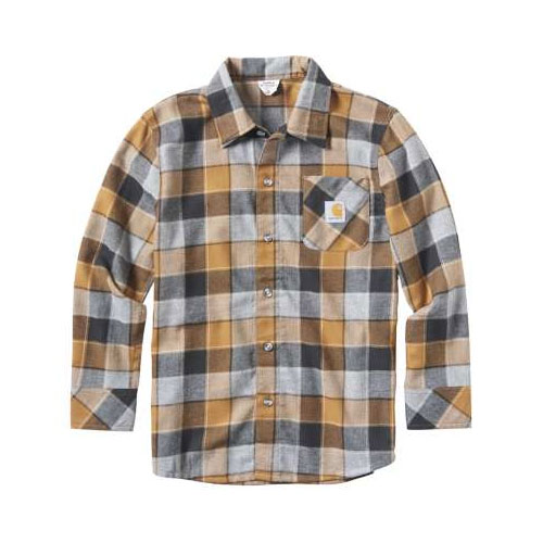 Boy's Long Sleeve Plaid Shirt, Brown, swatch