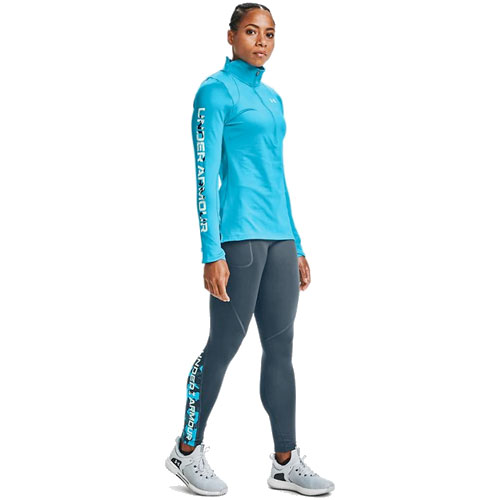 Women's ColdGear Armour Graphic Leggings, Green Blue, Teal, swatch