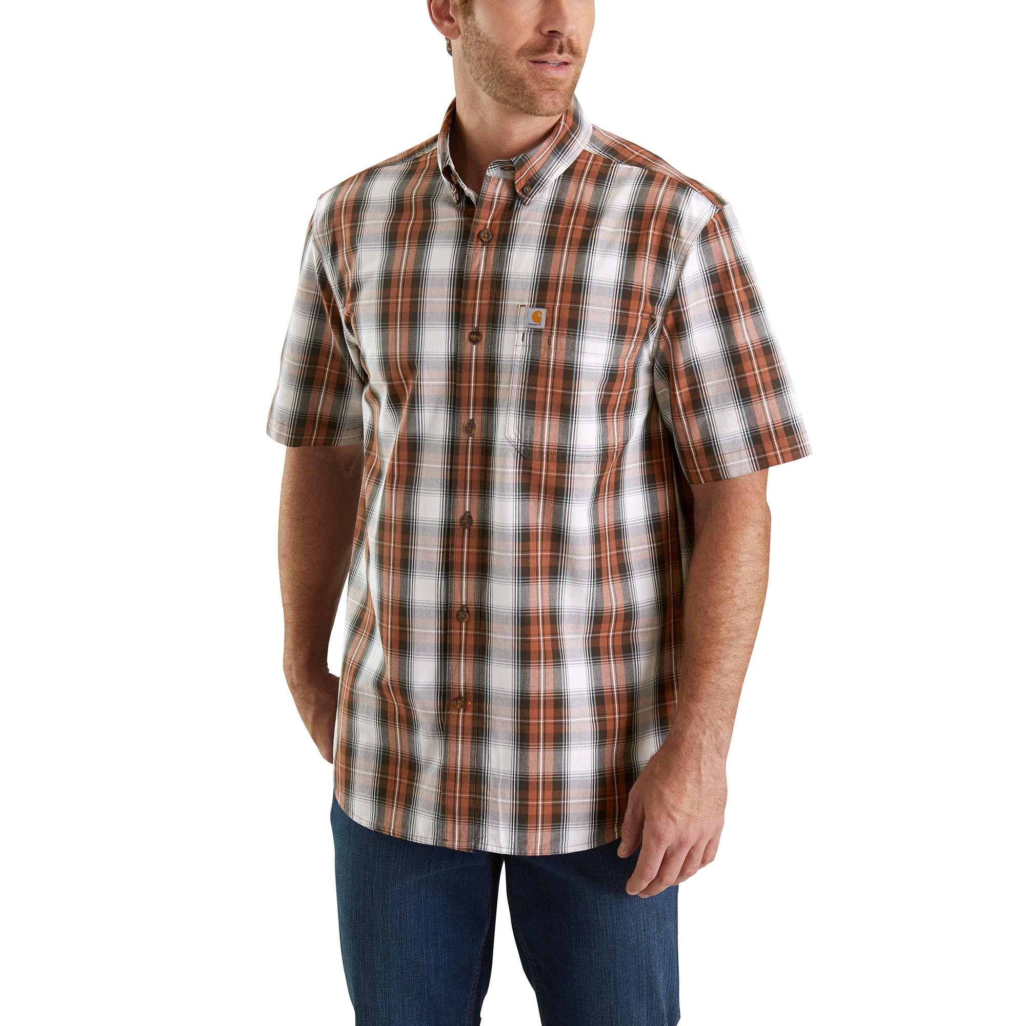 Men's Essential Plaid Button Down Shirt, Burnt Orange, swatch