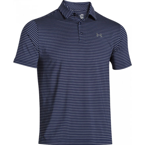 Men's Short Sleeve Striped Polo Golf Shirt, Navy, swatch