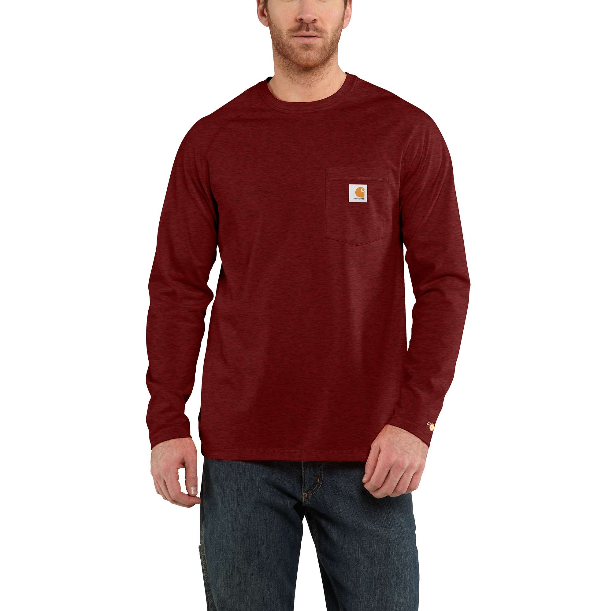 Men's Long Sleeve Force Cotton Tee, Brown/Red, swatch
